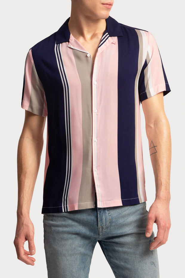 Navy & Pink Striped Viscose Shirt