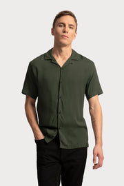 Olive Viscose Camp Collar Shirt