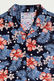 Light Blue Floral Viscose Shirt
