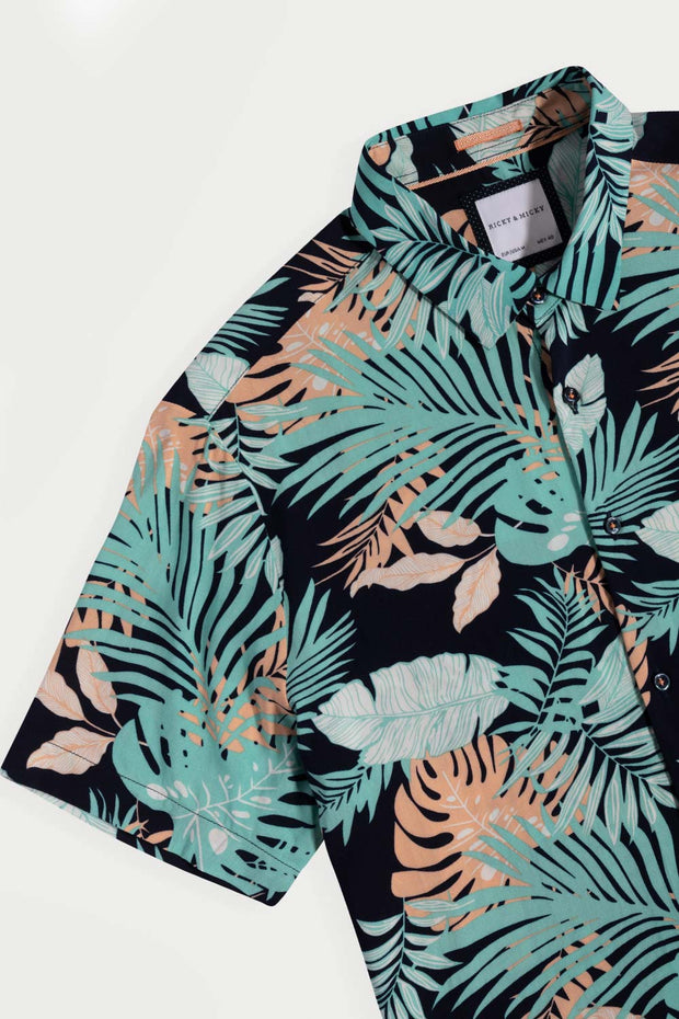 Mint Floral Viscose Shirt