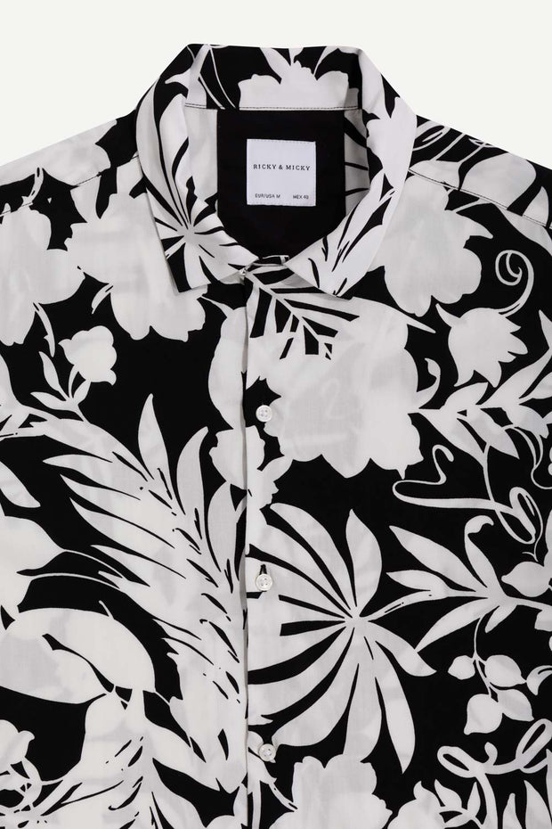 Black Floral Viscose Shirt