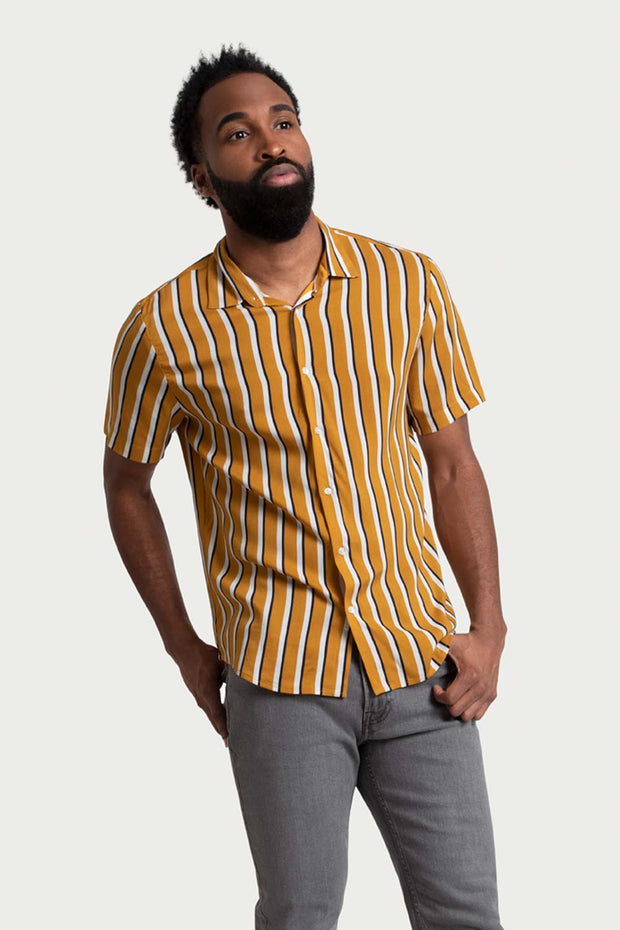 Orange Stripe Viscose Shirt