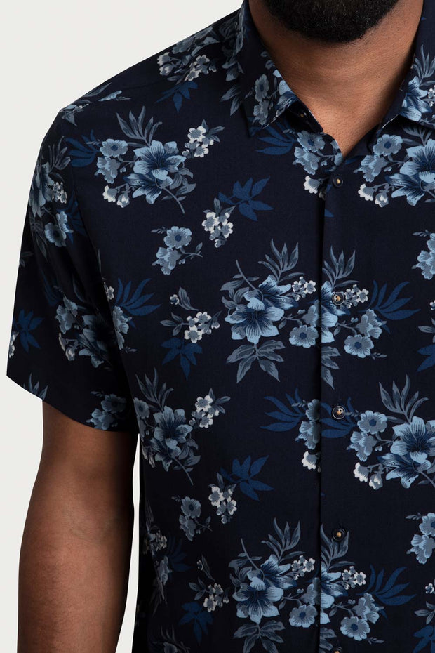 Navy Hawaiian Viscose Shirt
