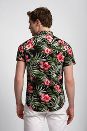 Red/Blk Hibiscus Flower Print Shirt