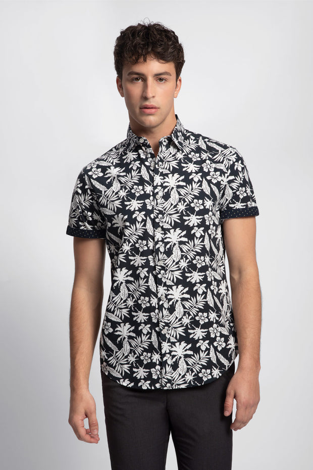 Navy Blue w/ White Tropical Floral Shirt