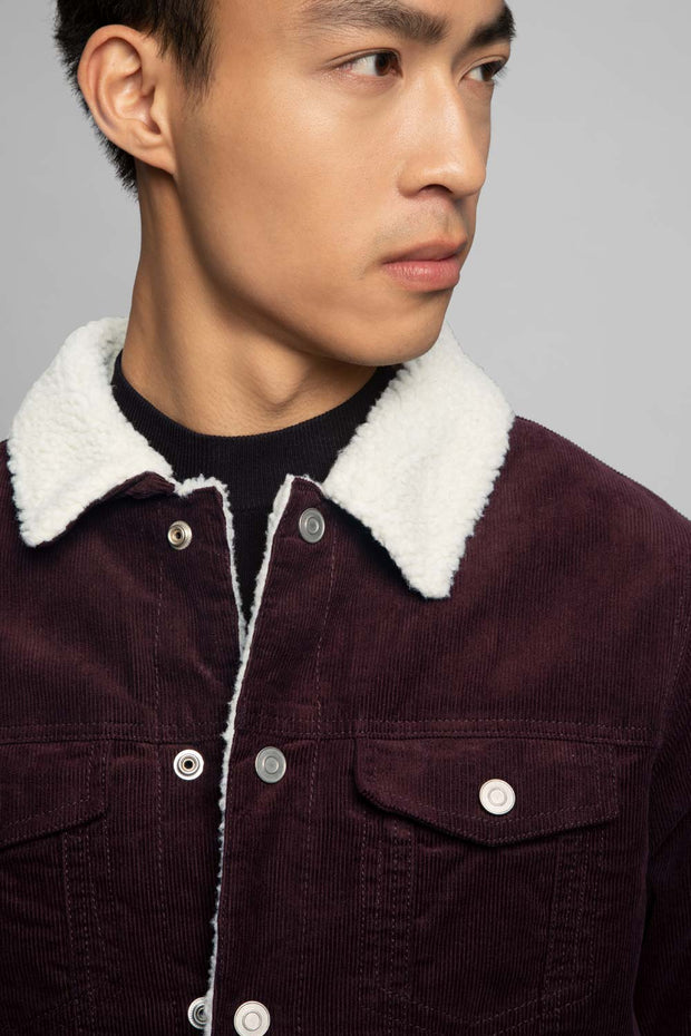 Burgundy Trucker Corduroy Jacket