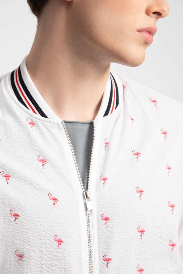 Pink Flamingo Printed Seersucker Bomber Jacket