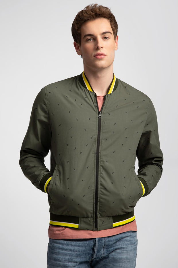 Green Bird Bomber Jacket