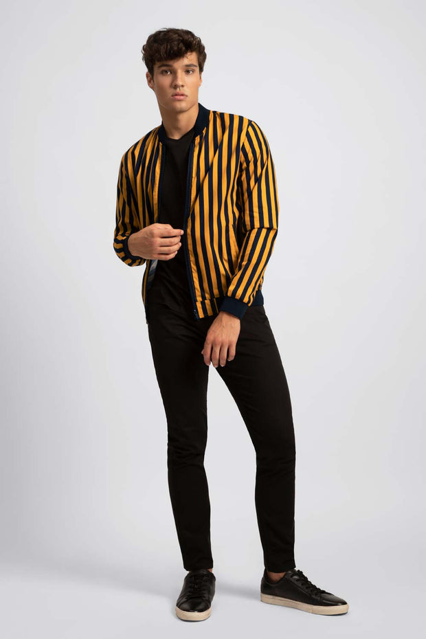 Striped Yellow & Black Bomber Jacket