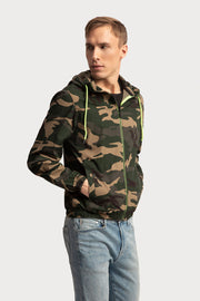 Camo Hooded Jacket W/Neon Trims