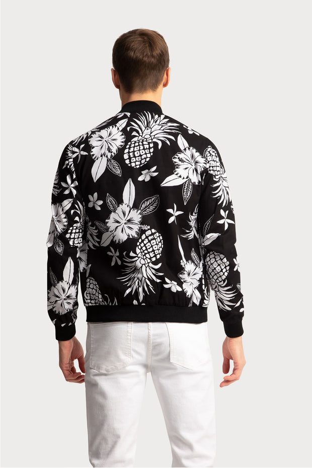 Hawaiian Print Bomber Jacket