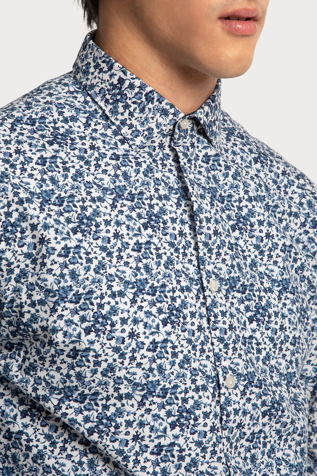 Blue Mini Floral Poplin Shirt