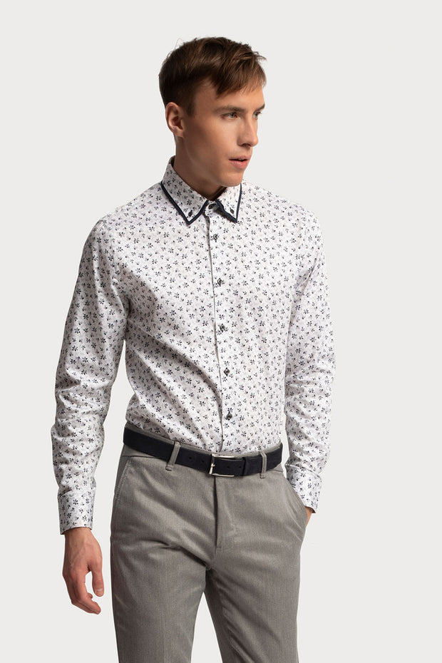 White Floral Dress Shirt