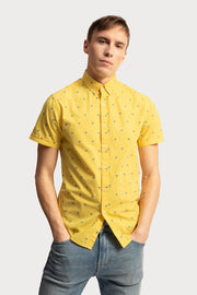 Blue Palm Tree Yellow Poplin Shirt
