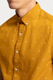 Mustard Palm Tree Printed Cotton Shirt