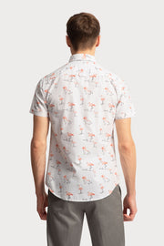 Pink Flamingo Printed Cotton Shirt