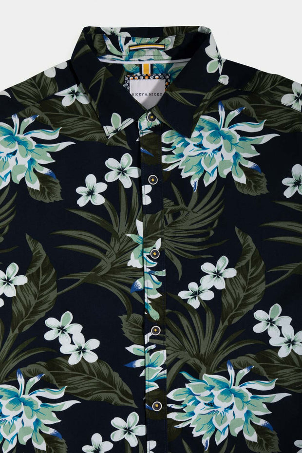 Navy & Green Floral Poplin Shirt