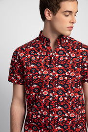 Navy W/ Red & White Floral