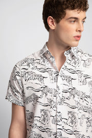 Cream & Black Tiger Print Shirt