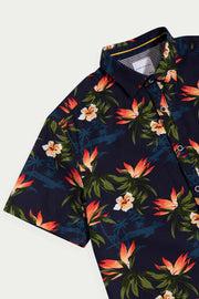 Navy Cotton Floral Shirt