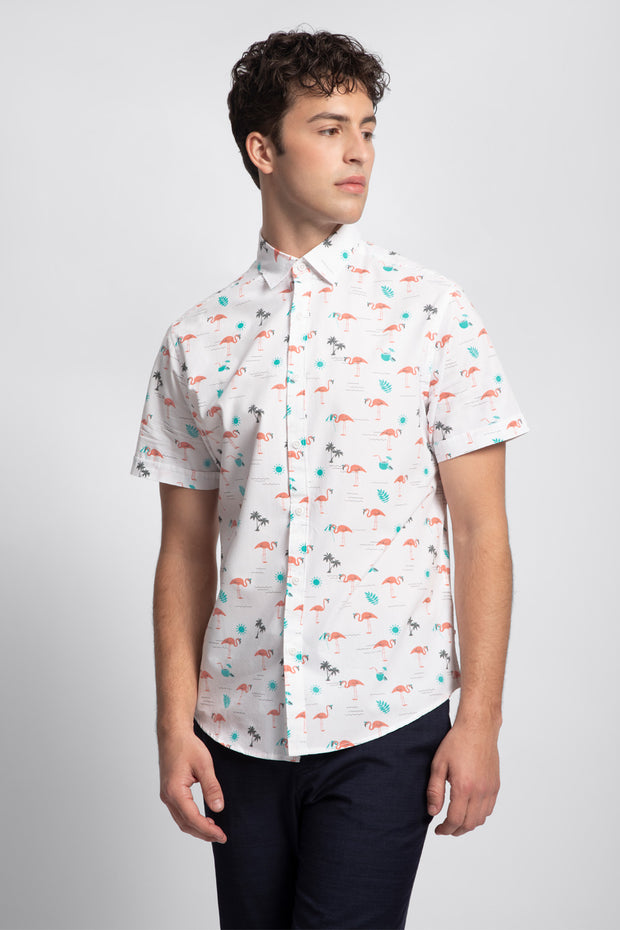 White & Teal Flamingo Print Shirt