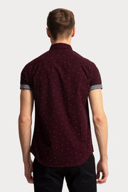 Burgundy Polka Dot Shirt