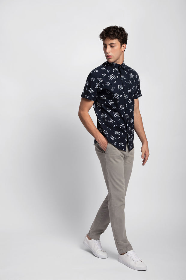 Navy & White Printed Poplin Shirt
