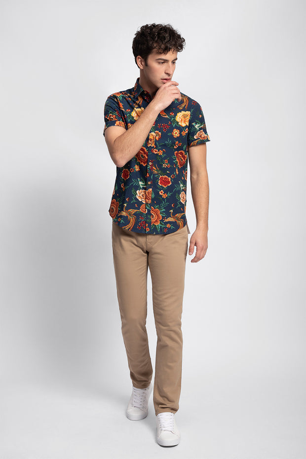 Orange Tropical Navy Print Shirt