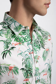 Tropical Flamingo Print Shirt