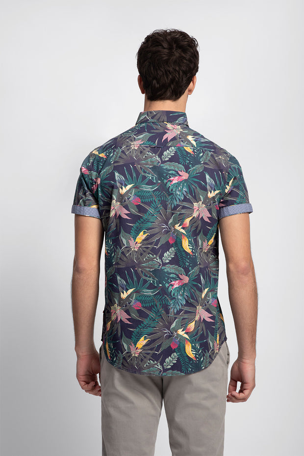 Navy & Green Tropical Print