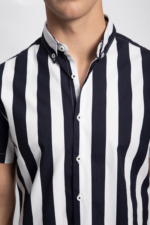 Navy & White Striped Shirt