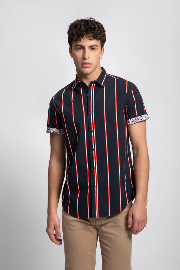 Red & Navy Double Stripe Shirt