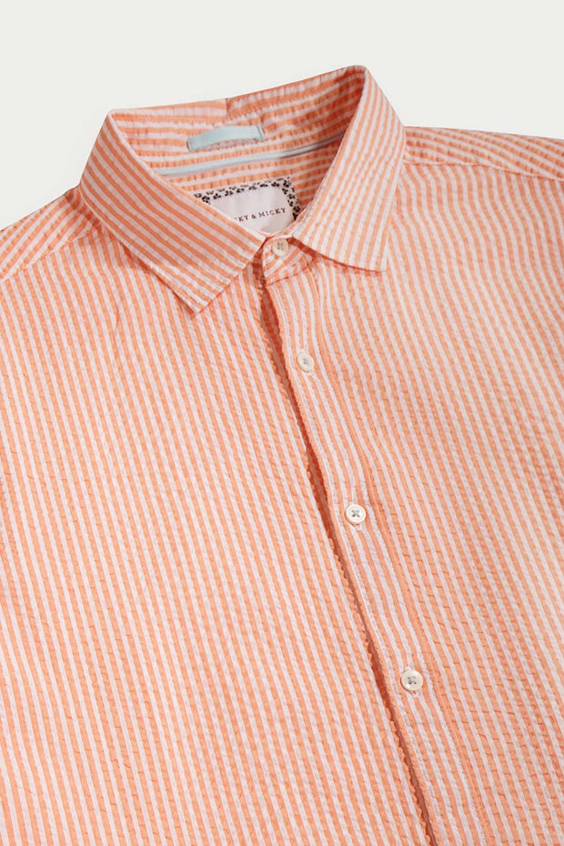 Orange Seersucker Pinstripes Shirt