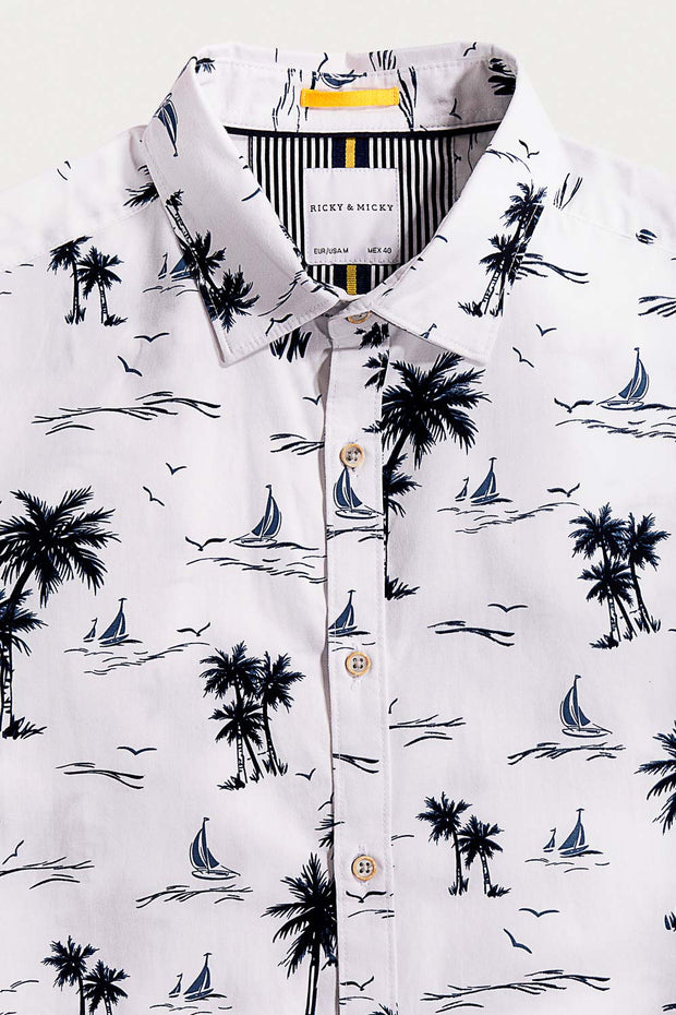 White Cotton Palm Tree Shirt
