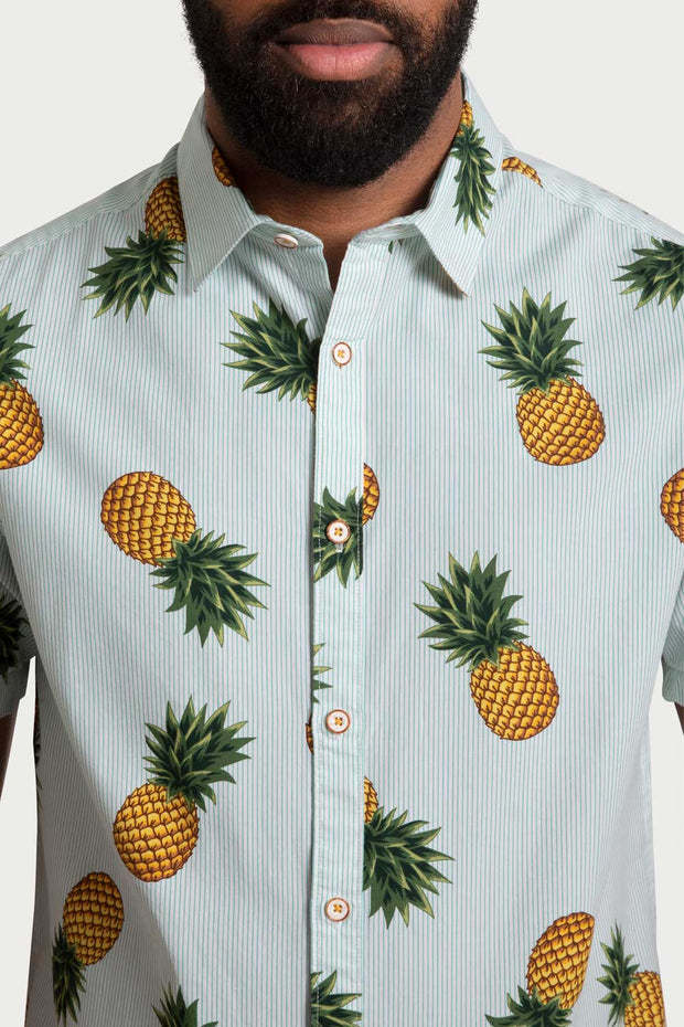 Pineapple Print Striped Shirt