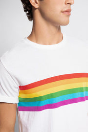 White Rainbow Striped T-Shirt
