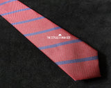 Skinny Tie - Maroon with Blue Stripes