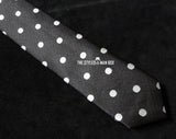 Skinny Tie - Black with White Dots