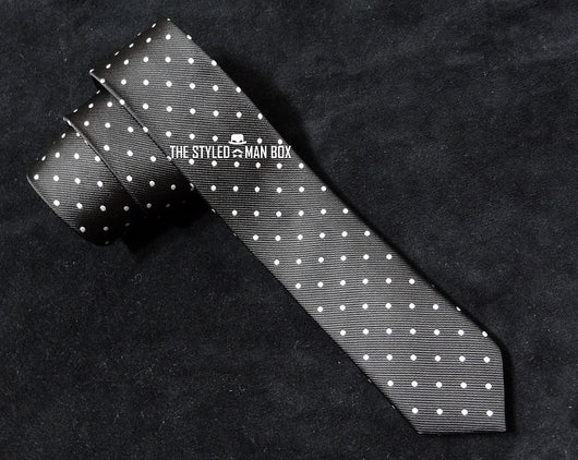 Skinny Tie - Black with Small White Dots