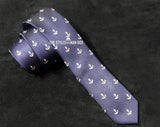Skinny Tie - Blue with White Anchors