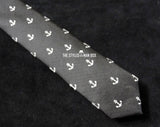 Skinny Tie - Black with White Anchors