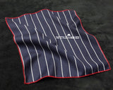 Pocket Square - Navy Blue with White Stripes