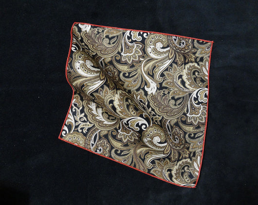 Pocket Square - Paisley Brown and Cream