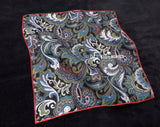 Pocket Square - Paisley Green and Blue