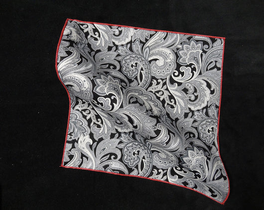 Pocket Square - Paisley Grey and White