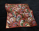 Pocket Square - Paisley Red and Green