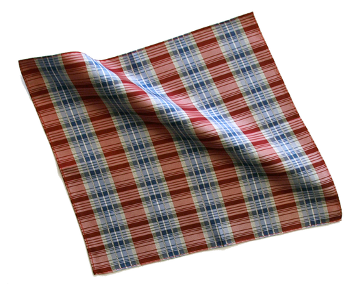 Pocket Square - Silk Red & Blue Plaid