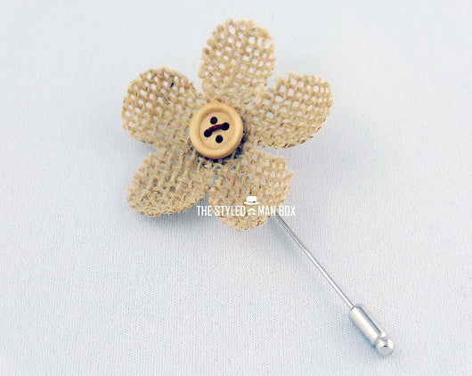Lapel Pin - Small Burlap Flower P The Styled Man Box The Styled Man Box - The Styled Man Box