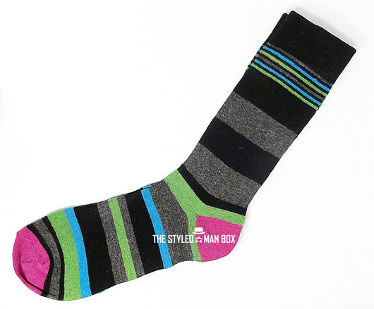 Men's Socks - Striped Black and Grey with Green