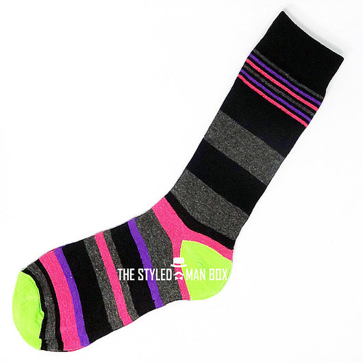 Men's Socks - Striped Black and Grey with Pink